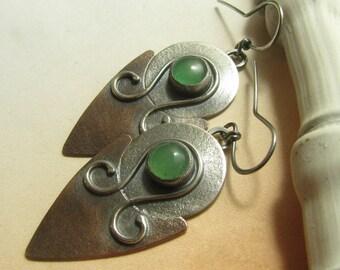Exotic Mixed Metal Earrings, Silver And Copper Earrings, Green Adventurine Earrings Artisan Earrings, Large Earrings, Big Statement Earrings