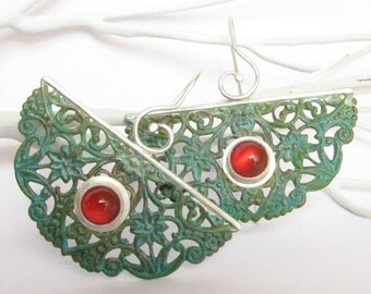 Large Verdigris Earrings, Carnelian Earrings, Mixed Metal Earrings, Green Patina Earrings, Bohemian Jewelry, Exotic Earrings, Boho Earrings