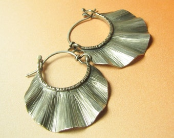 Small Argentium Hoop Earrings, Sterling Silver Hoops, Metalwork Jewelry, Ruffle Hoops, Artisan Metalsmith Earrings, Silversmith Jewelry