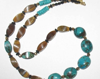 Turquoise and Tigers Eye with Czech Glass Beaded Handmade Necklace
