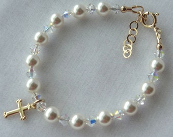 Gold Pearl Baby Bracelet, Pearl Birthstone Bracelet, Cross Bracelet, Flower Girl Bracelet, First Communion Bracelet
