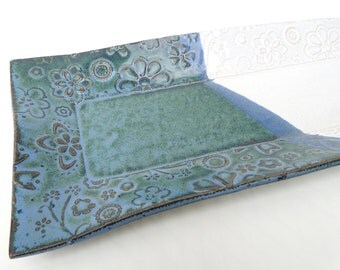 Slate Blue Green and White Textured Floral Handmade Ceramic Pottery Appetizer Serving Plate