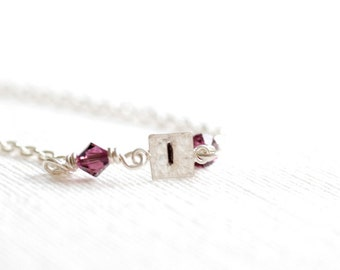 Personalized Necklace, Stamped Initial Necklace, Birthstone Necklace, Initial Jewelry, Monogram Necklace, Bridesmaid Jewelry