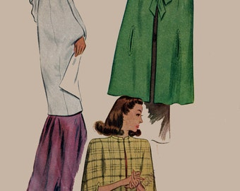 1940s Swing Era Hooded Evening Cape Tie Neck McCall 5986 Vintage Sewing Pattern Size 12 Bust 30