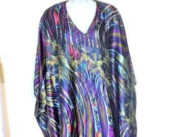 Vintage Kaftan 80s Made in Pakistan Size L to XL to XXL Purple Kaftan Earth Mother Trippy Hippie