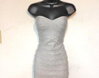 Herve Leger Yosikoye Bandage Dress Silver Glitter Body Con VIntage 90s NWT Size 2 Mini Dress Silver Dress Strapless
