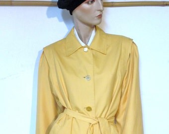 Trench Coat Yellow Trench Coat  Vintage 80s Size 10 to 12 petite