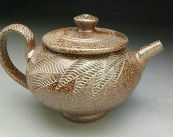 Salt Glazed Woodfired Teapot - with Stylized Fern Textured Design