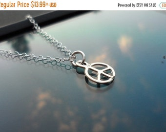 ON-SALE SALE - 15% Off Tiny Peace Sign Solid Sterling Silver Necklace -  Charm Pendant
