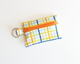Business Card Holder, Small Zipper Pouch, Flash Drive Holder Military Max Plaid