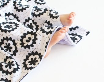 Minky Security Blanket Black and White Flowers Baby Girl Blanket, Lovey