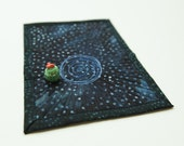 Galaxy Quilt Quilted Display Mat for Ceramic Figures Small Space Themed Quilt Fiber Art Quilt Deep Space Quilt Astrological Quilted Art Mat