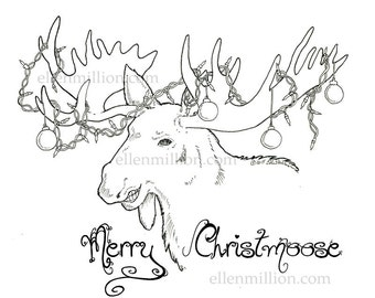 Merry Christmoose Digi Stamp Digital Coloring Page - for christmas cards or coloring