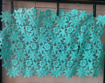Sale - Vintage Aqua Embroidered Lace Piece Flowers Trim, for Dressmaking or Needlecraft