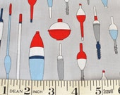 Fishing Floats and Bobbers FABRIC Kristen Berger Fishline Fabric for Maywood Studio grey red MAS8853-K