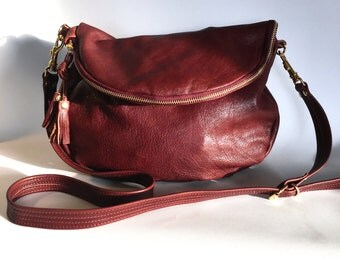 Alberta leather bag in cognac veg tanned cow hide