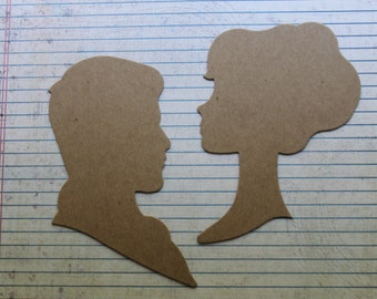 2 Bare chipboard die cuts large silhouttes  man / woman cameo vintage