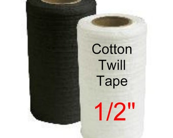 """144 YARDS - 1/2"""" - Lightweight Cotton Twill Ribbon Tape, 1/2 inch - BLACK or WHITE"""