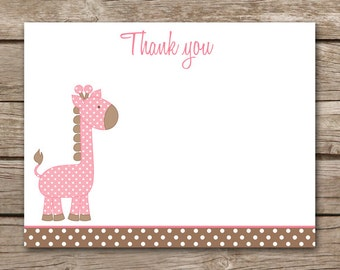 Giraffe Thank You Cards - Baby Shower - Girl - Jungle - Zoo - Safari - Note Cards - Notecards - INSTANT DOWNLOAD