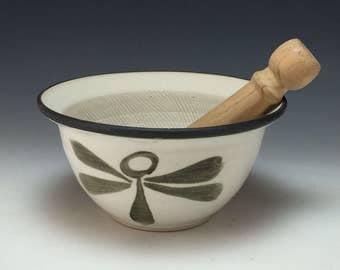 Stylized Dragonfly Design Suribachi Surikogi Webb Pottery
