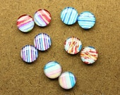 20% OFF SALE - 10pcs ( 5 Pairs) 10mm 12mm Mixed Stripe Glass Dome, Handmade Photo Color Streak Cabochon - MCH022C