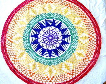 """Large- Brightly Rainbow Colored Round Hand Crocheted Doily 20.5"""" Red Blue Green Yellow"""