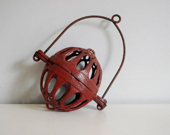 Antique String Holder, Cast Iron Twine Holder, Rustic General Store, Kitchen String Holder, Hanging Twine Dispenser, Red Storage Supplies