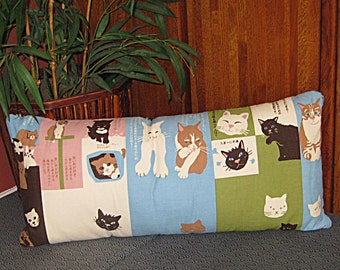 Cats Design Japanese Design Accent Pillow Zippered Cover