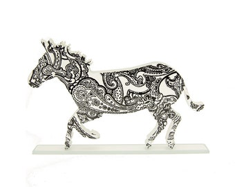 Paisley Print Zebra Glass Sculpture Custom Colours
