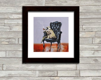Monkey, animal, Smoking a Pipe, black leather chair, Square ART PRINT of original Oil Painting by artist Kimberly Applegate