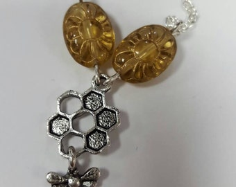 Honeycomb and Bee Necklace with Vintage Glass Beads