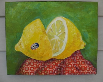 Cut Lemon - Original Painting - Collage - 8 x 10 inches on canvas