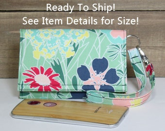 Cell Phone Wallet Wristlet Case, Ready To Ship, Fits iPhone 5, 6, 6s, Galaxy S4, Nexus 4, 5, 5X and More / Mint Green Floral and Navy