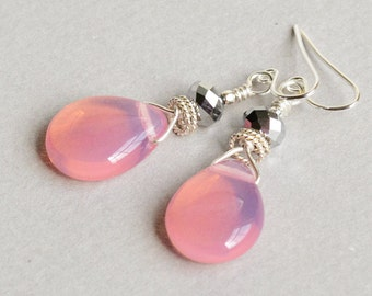 Pink Pearls Earrings - Pink Drop Earrings - Pink and Silver Earrings - Sterling Silver Earrings