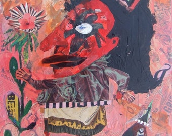 Outsider Mama Art Painting Collage - Original Abstract Girl and Bird Raw Naive Pink Red Mother Day Folk Artwork Wall Decor Brut