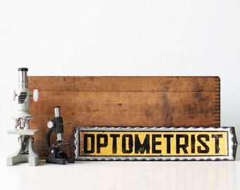 Vintage Glass Sign - Optometrist Reverse Paint, Foil Sign