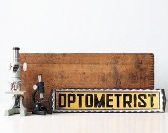 Vintage Glass Sign - Optometrist Reverse Paint, Foil Sign