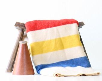 Vintage Wool Blanket, Stripes, Golden Dawn Blanket, 100% Wool, JC Penney