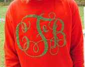 Womens Long Sleeve Glitter Monogram Shirt - You Choose Color and Monogram
