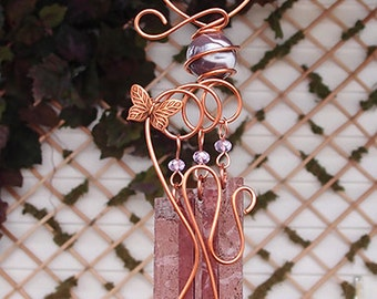 Butterfly Glass Wind Chimes Windchime Copper Garden Ornament Art Sculpture Stained Glass Metal