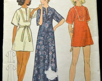 Vintage 70s Sewing Pattern Butterick 6659 Misses' Cover Up  Bust 32 Inches Size 10 Complete