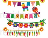 50% OFF SALE Cinco de mayo bunting clipart - Mexican banners clip art - digital images - instant download