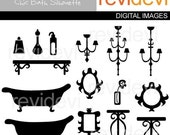 60% OFF SALE Bath room clipart - Chic Bath Silhouette 07228 - bathtub, chandelier, mirror