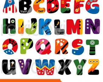Superhero alphabet clipart - ABC Alphabet clip art - digital download - commercial use