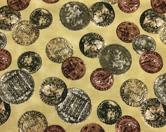 Coin Fabric 18 inches x 36 inches - Halloween tan background