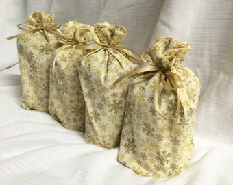 Christmas Gift Bags - 4 Snowflake Cream Gold -  Reusable Eco-Friendly Cotton Fabric
