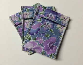 Jewelry Bead Pouches - 15 Purple Pansy Ribbon