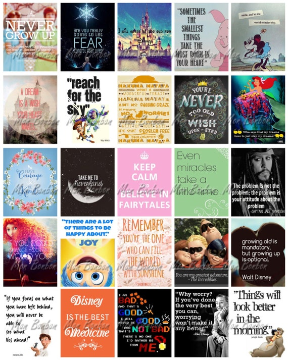 Disney Quotes Motivational Printable Sticker Sheet - DIY - Print at ...
