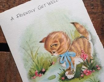 Vintage Orange Kitten Get Well Greeting Card - Unused