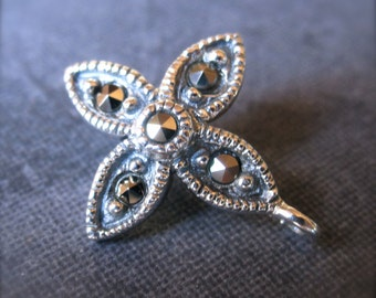 Marcasite Bail - solid sterling silver - blossom cross small necklace findings